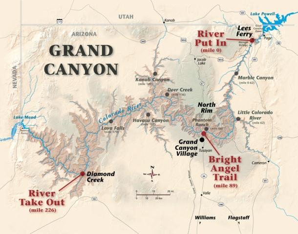 Grand Canyon River Trip Length and Map – Grand Canyon Tourist Map
