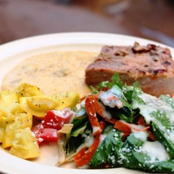 BBQ Chicken, Mexican Salad, grits and squash