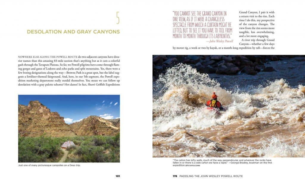 Two pages from Paddling the John Wesley Powell Route